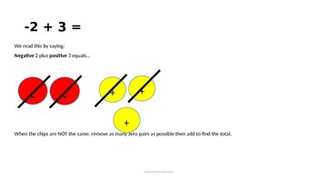 Power Point - Adding and Subtracting Integers Using Models and Number Lines