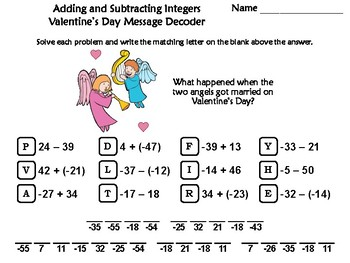Adding and Subtracting Integers Valentine's Day Math Activity: Message Decoder