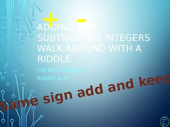 Adding and Subtracting Integers Walk Around or Gallery Walk with a Riddle
