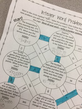 Adding and Subtracting Integers Word Problems Maze Activity