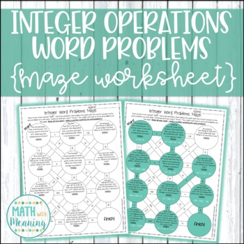 Add and Subtract Integers Word Problems Maze Worksheet - C