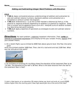 Adding and Subtracting Integers Word Problems with Elevation
