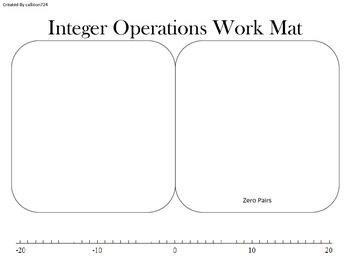 Adding and Subtracting Integers Work Mat