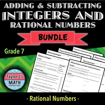 Adding and Subtracting Integers and Rational Numbers Bundle