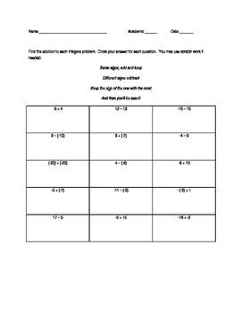 Adding and Subtracting Integers  (easy)