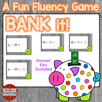 Adding and Subtracting Integers interactive game Bank It!