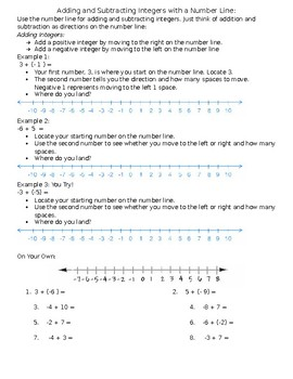 Adding and Subtracting Integers with a Number Line