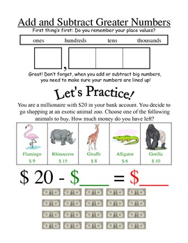 Adding and Subtracting Large Numbers - Notes and Game