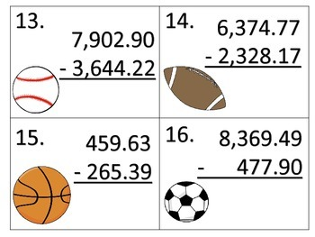 Adding and Subtracting Large Numbers with Decimals--Sports Theme