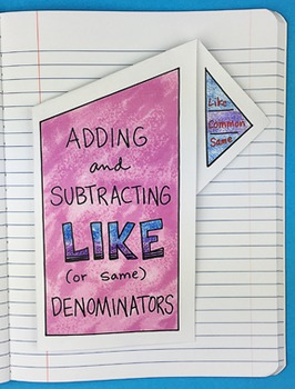 Doodle Notes - Adding and Subtracting Like Denominators Notebook Foldable