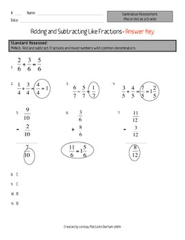 Adding and Subtracting Like Fractions Quiz