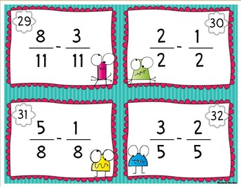 Adding and Subtracting Like Fractions Task Cards and More!
