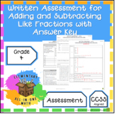 Adding and Subtracting Like Fractions - Written Assessment 4th Grade (4.NF.3)