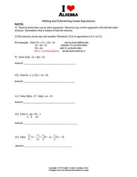 Adding and Subtracting Linear Expressions