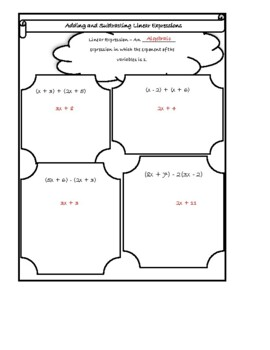 Adding and Subtracting Linear Expressions Doodle Notes
