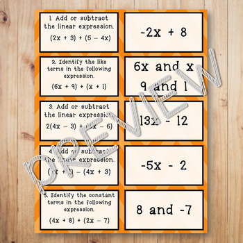 Adding and Subtracting Linear Expressions Matching Game Task Cards