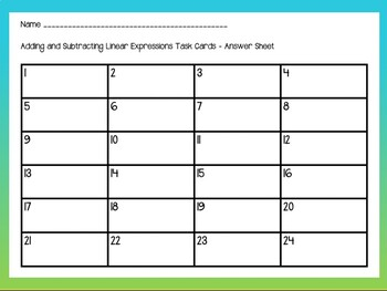 Adding and Subtracting Linear Expressions Notes Task Cards