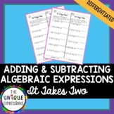 Adding and Subtracting Linear Expressions Partner Activity