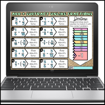 Add and Subtract Unlike Fractions Matching Activity