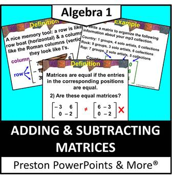 Adding and Subtracting Matrices in a PowerPoint Presentation