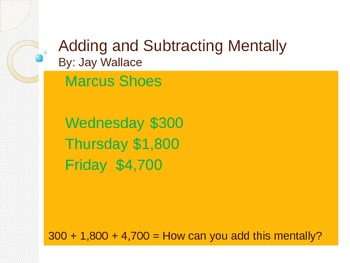 Adding and Subtracting Mentally Strategies