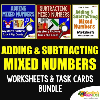 Adding and Subtracting Mixed Numbers Worksheets and Task Cards