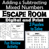 Adding and Subtracting Mixed Numbers Activity: Escape Room Math Game