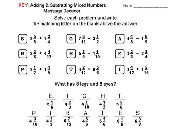 Adding and Subtracting Mixed Numbers Activity: Math Message Decoder