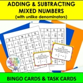 Adding and Subtracting Mixed Numbers Bingo