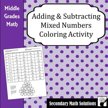 Adding and Subtracting Mixed Numbers Coloring Activity