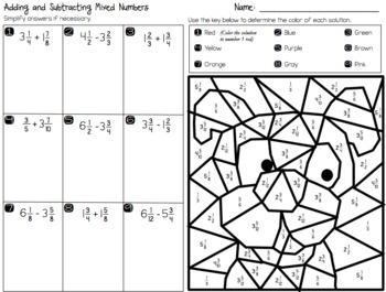Adding and Subtracting Mixed Numbers - Coloring Activity