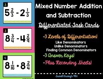 Adding and Subtracting Mixed Numbers Differentiated Task Cards