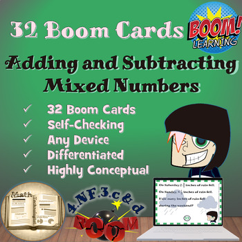 Adding and Subtracting Mixed Numbers: Digital Task Cards- Boom Cards