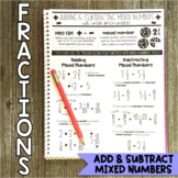 Math Notebook: Adding and Subtracting Mixed Numbers (Fractions)