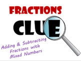 Adding and Subtracting Mixed Numbers Fractions Pre-Algebra Clue Game