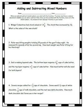 Adding and Subtracting Mixed Numbers Fractions Word Problems Add Subtract