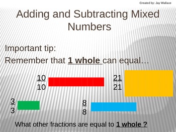 Adding and Subtracting Mixed Numbers Instructional PowerPoint