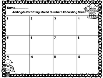 Adding and Subtracting Mixed Numbers-Like Denominators-12 Task Cards