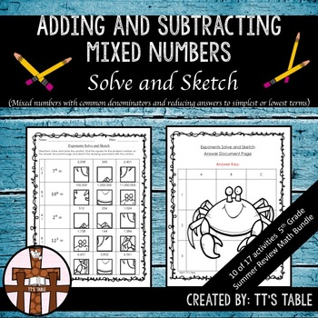 Adding and Subtracting Mixed Numbers Solve and Sketch