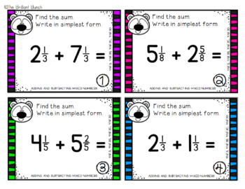 Adding and Subtracting Mixed Numbers Task Cards-4th Grade