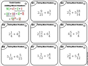 Adding and Subtracting Mixed Numbers Task Cards Bundle 4th 5th 6th Grade