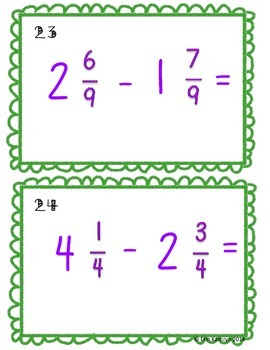 Adding and Subtracting Mixed Numbers Task Cards - Set of 32 Common Core 4.NF.3C