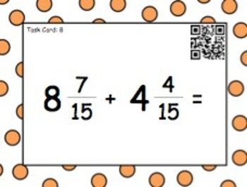 Adding and Subtracting Mixed Numbers (Task Cards/QR Codes)