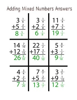 Adding and Subtracting Mixed Numbers Tic-Tac-Toe