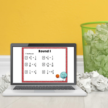 Adding and Subtracting Mixed Numbers Trashketball Math Game