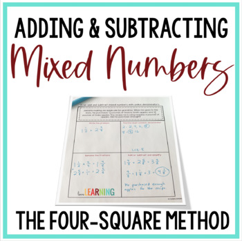 Adding and Subtracting Mixed Numbers Using the Four-Square Method