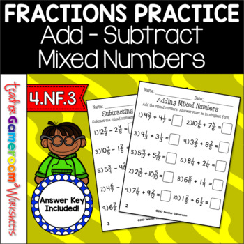 Adding and Subtracting Mixed Numbers Worksheets