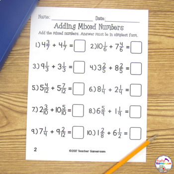 Adding And Subtracting Mixed Numbers Worksheets By Teacher Gameroom
