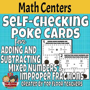 Adding and Subtracting Mixed Numbers and Improper Fractions Poke Cards