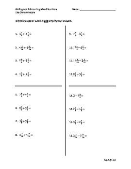 Add/Subtract Mixed Numbers with Like Denominators - Go Math Chapter 7 Review